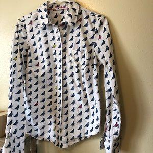 Boden pidgeon bird button down long sleeve blouse